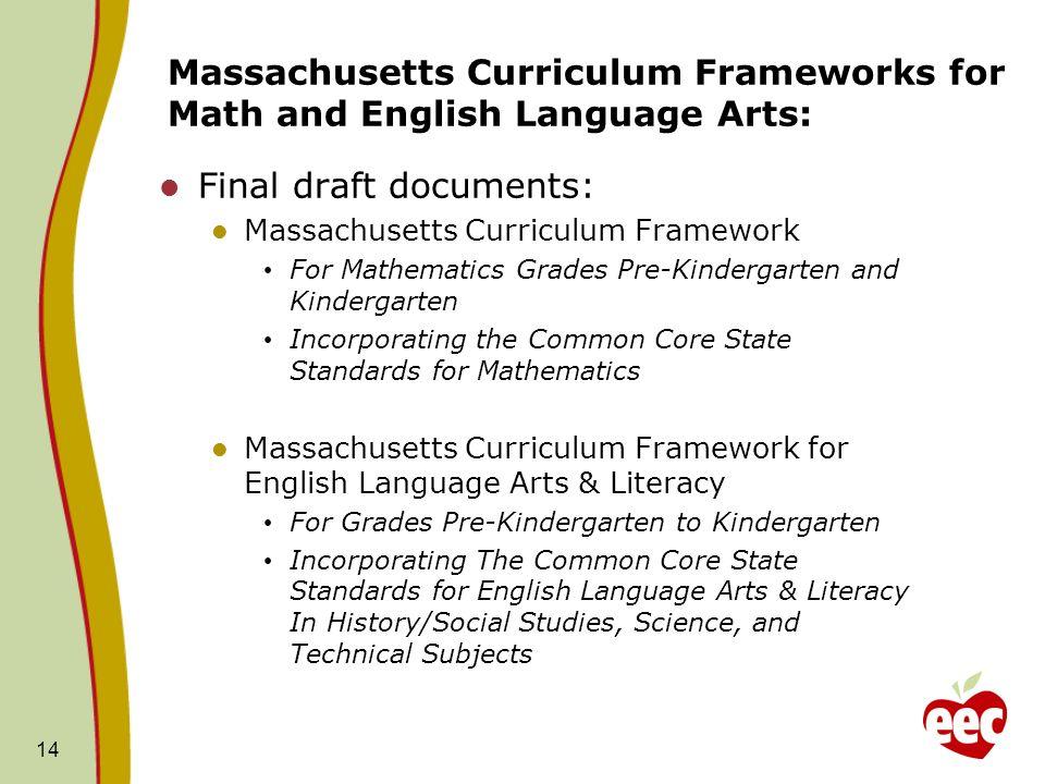 Massachusetts Curriculum Frameworks for Math and English Language Arts: Final draft documents: Massachusetts Curriculum Framework For Mathematics Grad