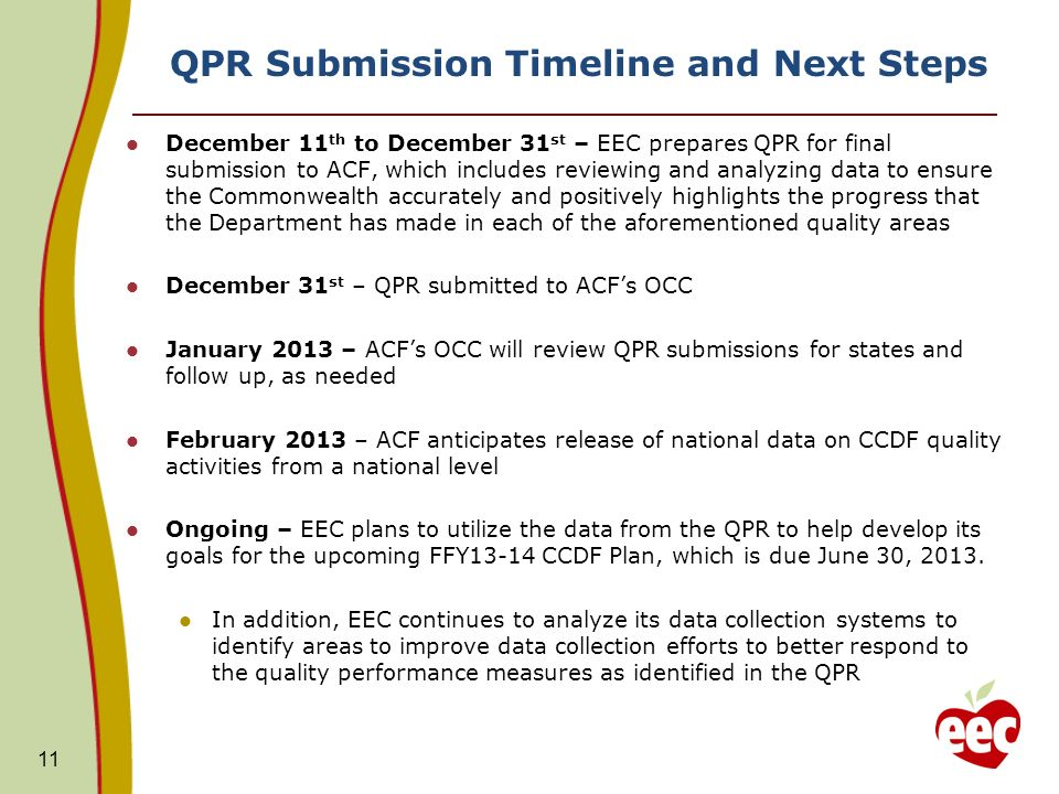 11 QPR Submission Timeline and Next Steps December 11 th to December 31 st – EEC prepares QPR for final submission to ACF, which includes reviewing and analyzing data to ensure the Commonwealth accurately and positively highlights the progress that the Department has made in each of the aforementioned quality areas December 31 st – QPR submitted to ACFs OCC January 2013 – ACFs OCC will review QPR submissions for states and follow up, as needed February 2013 – ACF anticipates release of national data on CCDF quality activities from a national level Ongoing – EEC plans to utilize the data from the QPR to help develop its goals for the upcoming FFY13-14 CCDF Plan, which is due June 30, 2013.