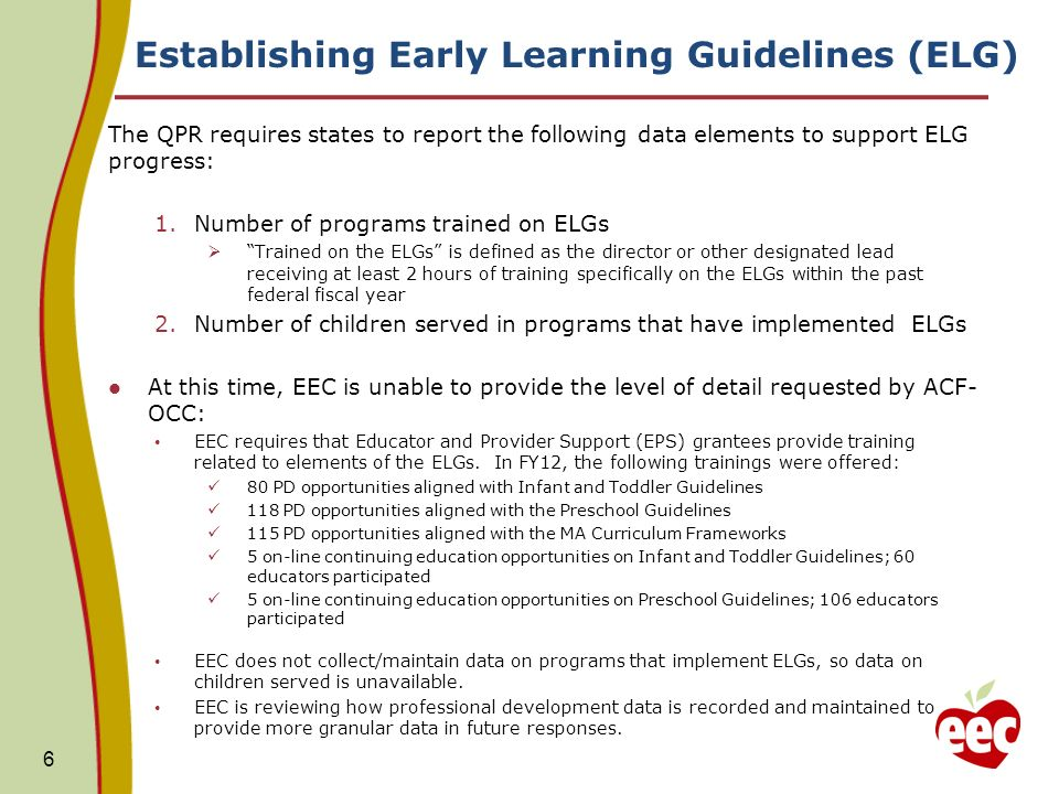 Establishing Early Learning Guidelines (ELG) The QPR requires states to report the following data elements to support ELG progress: 1.Number of progra