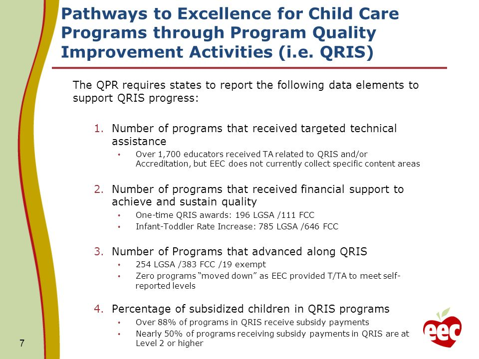 Pathways to Excellence for Child Care Programs through Program Quality Improvement Activities (i.e.