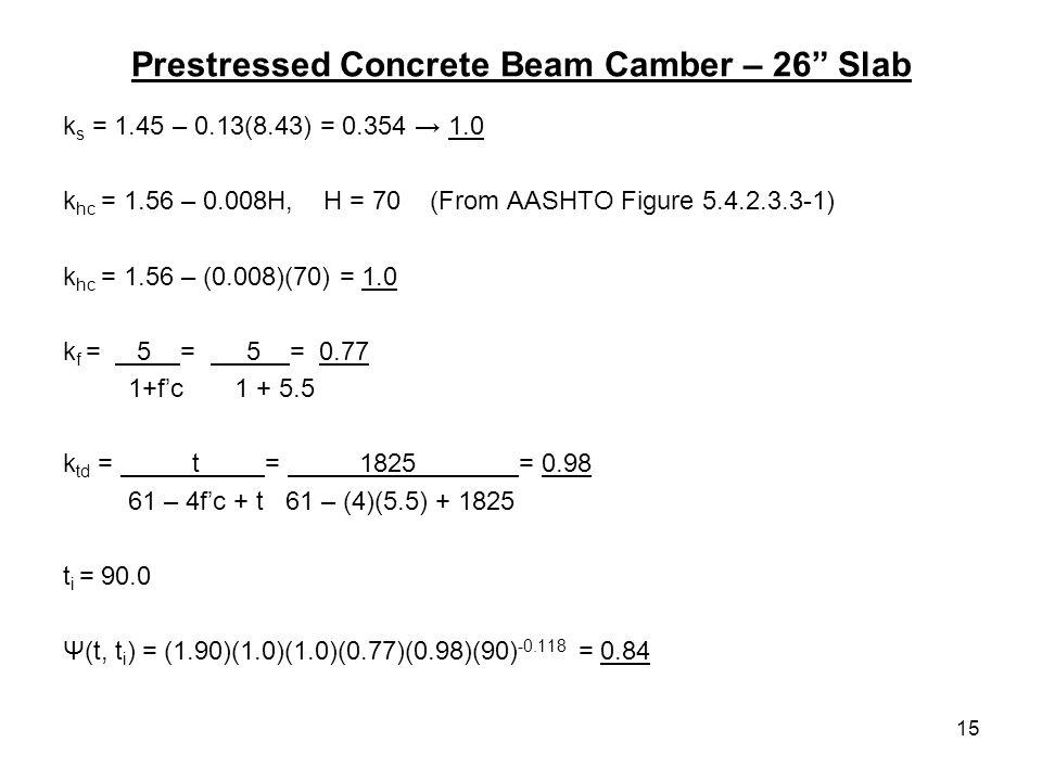 15 Prestressed Concrete Beam Camber – 26 Slab k s = 1.45 – 0.13(8.43) = 0.354 1.0 k hc = 1.56 – 0.008H, H = 70 (From AASHTO Figure 5.4.2.3.3-1) k hc =