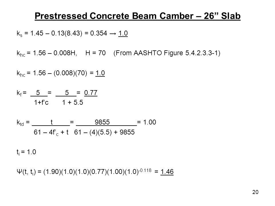 20 Prestressed Concrete Beam Camber – 26 Slab k s = 1.45 – 0.13(8.43) = 0.354 1.0 k hc = 1.56 – 0.008H, H = 70 (From AASHTO Figure 5.4.2.3.3-1) k hc =