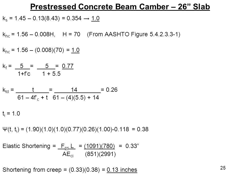 25 Prestressed Concrete Beam Camber – 26 Slab k s = 1.45 – 0.13(8.43) = 0.354 1.0 k hc = 1.56 – 0.008H, H = 70 (From AASHTO Figure 5.4.2.3.3-1) k hc =