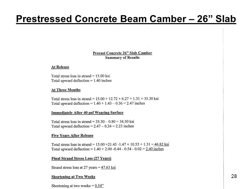 28 Prestressed Concrete Beam Camber – 26 Slab