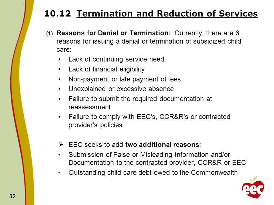 32 10.12 Termination and Reduction of Services (1) Reasons for Denial or Termination: Currently, there are 6 reasons for issuing a denial or terminati
