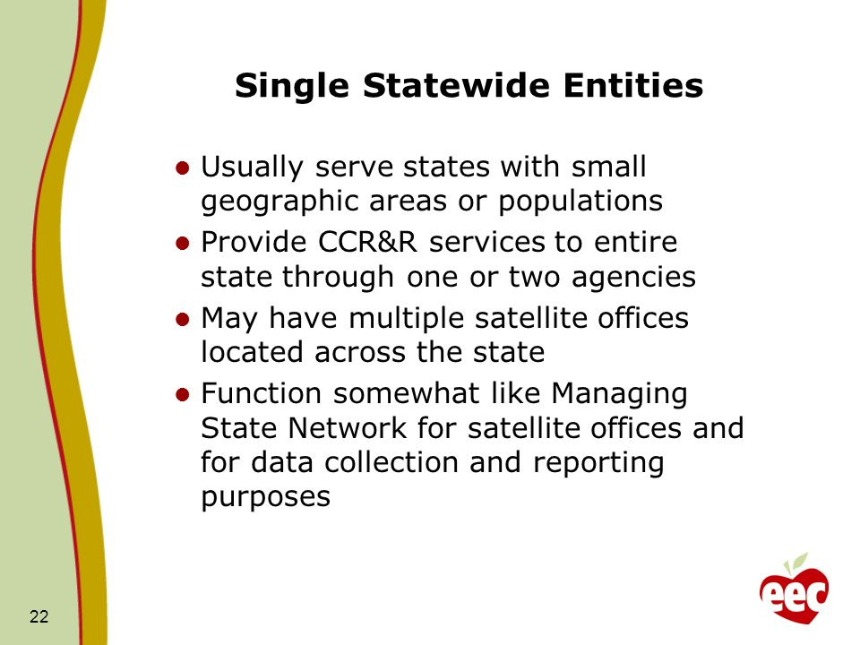 Single Statewide Entities Usually serve states with small geographic areas or populations Provide CCR&R services to entire state through one or two agencies May have multiple satellite offices located across the state Function somewhat like Managing State Network for satellite offices and for data collection and reporting purposes 22