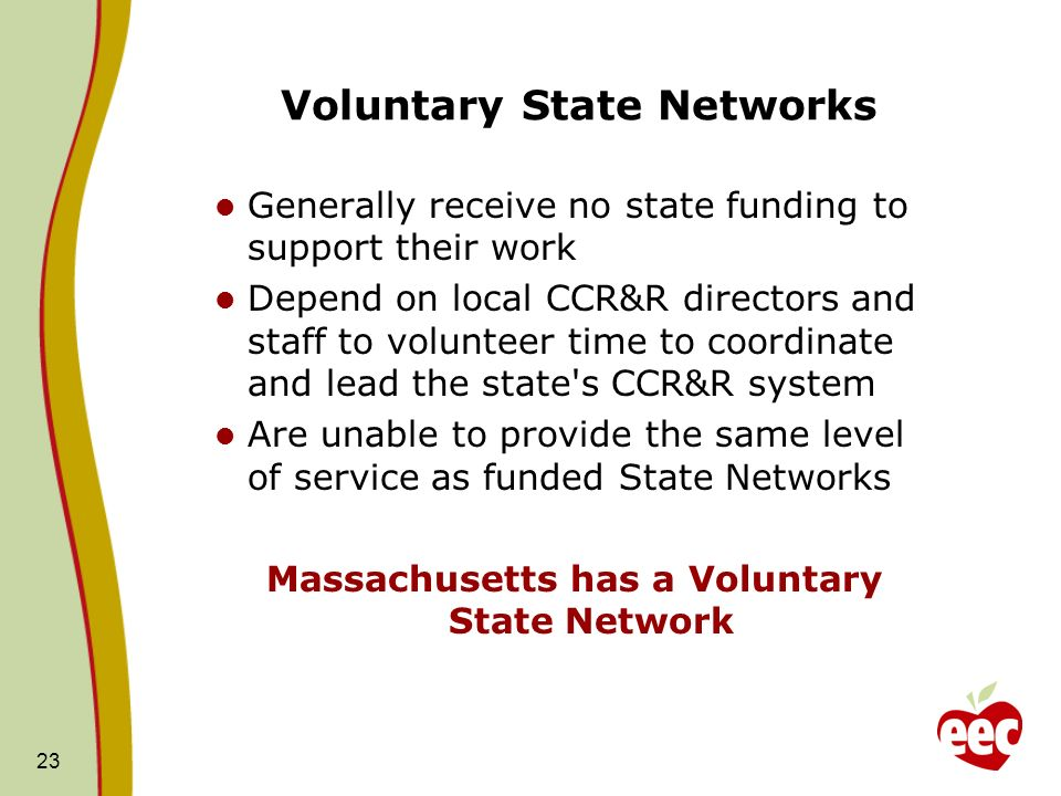 Voluntary State Networks Generally receive no state funding to support their work Depend on local CCR&R directors and staff to volunteer time to coordinate and lead the state s CCR&R system Are unable to provide the same level of service as funded State Networks Massachusetts has a Voluntary State Network 23