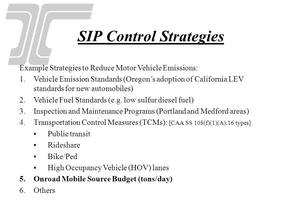 SIP Control Strategies Example Strategies to Reduce Motor Vehicle Emissions: 1.Vehicle Emission Standards (Oregons adoption of California LEV standard