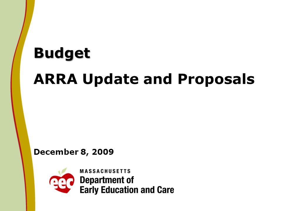 Budget Budget ARRA Update and Proposals December 8, 2009