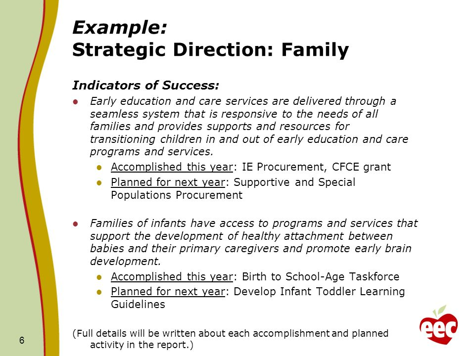 Example: Strategic Direction: Family Indicators of Success: Early education and care services are delivered through a seamless system that is responsive to the needs of all families and provides supports and resources for transitioning children in and out of early education and care programs and services.