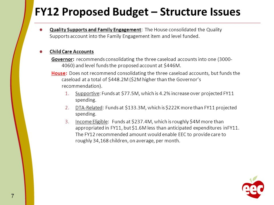 FY12 Proposed Budget – Structure Issues 7 Quality Supports and Family Engagement: The House consolidated the Quality Supports account into the Family Engagement item and level funded.