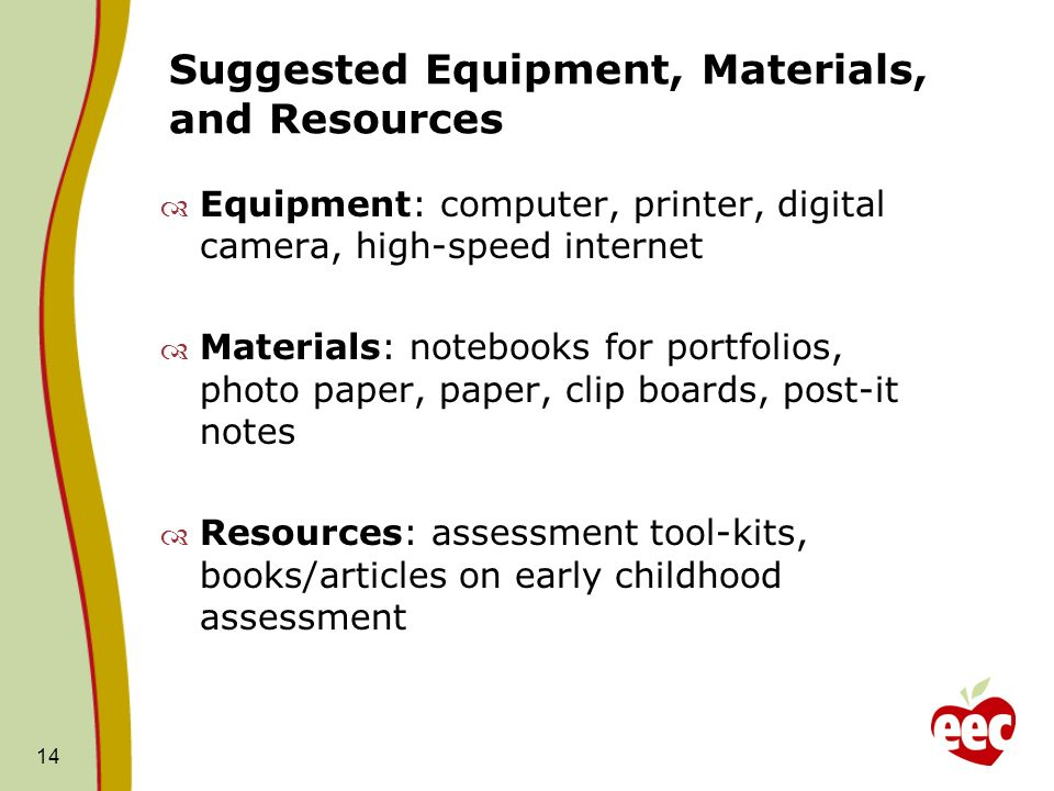 Suggested Equipment, Materials, and Resources Equipment: computer, printer, digital camera, high-speed internet Materials: notebooks for portfolios, photo paper, paper, clip boards, post-it notes Resources: assessment tool-kits, books/articles on early childhood assessment 14