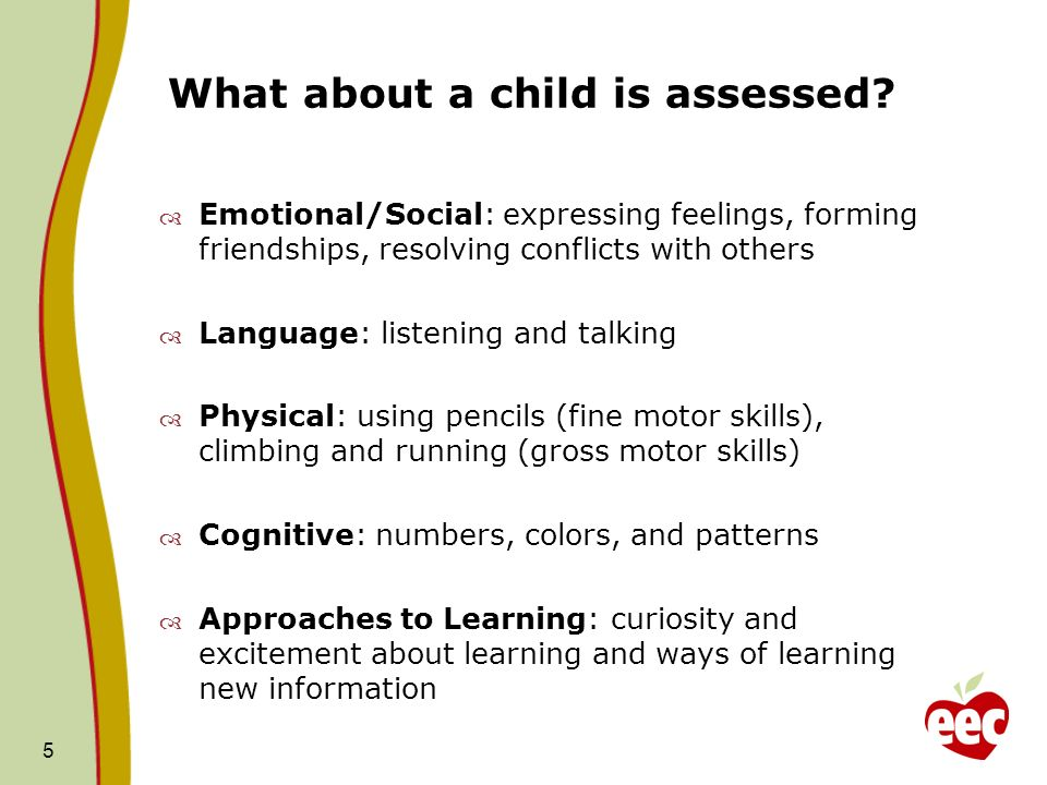 What about a child is assessed.