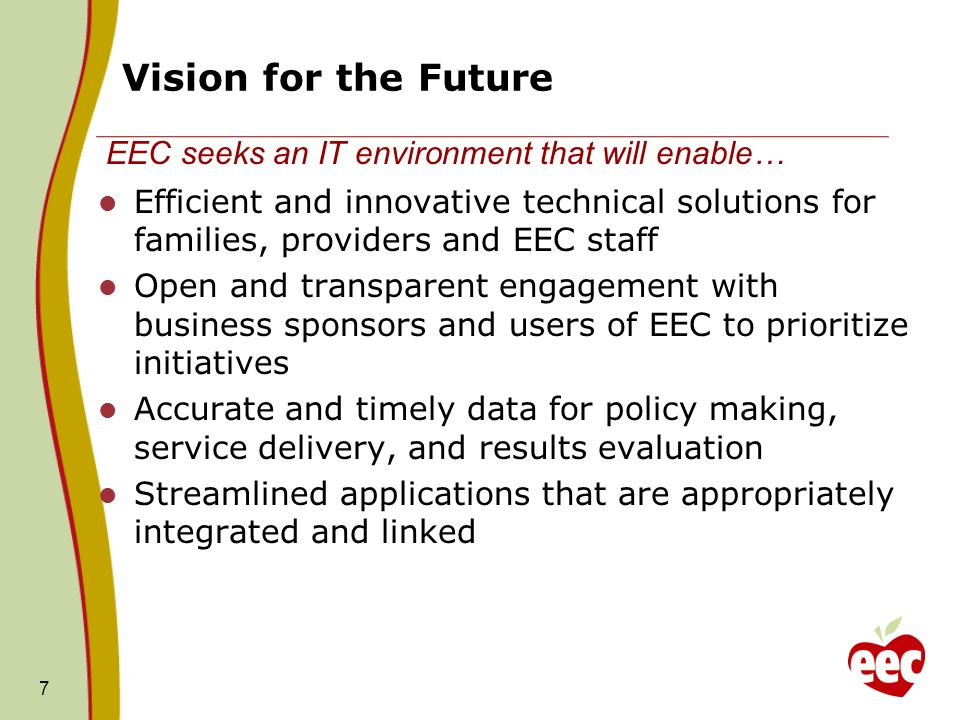Vision for the Future Efficient and innovative technical solutions for families, providers and EEC staff Open and transparent engagement with business