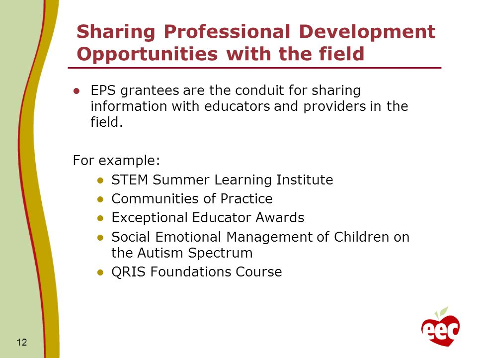 Sharing Professional Development Opportunities with the field EPS grantees are the conduit for sharing information with educators and providers in the field.