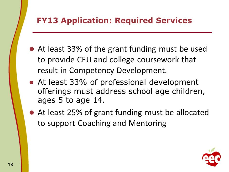 FY13 Application: Required Services At least 33% of the grant funding must be used to provide CEU and college coursework that result in Competency Dev