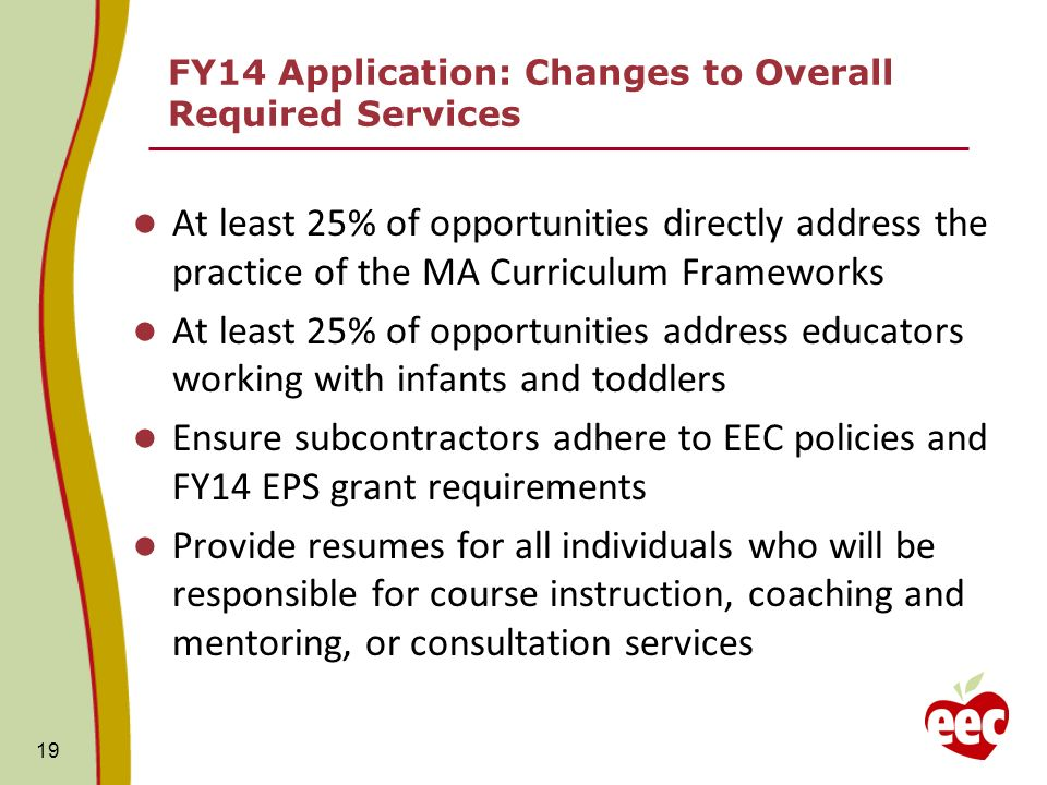 FY14 Application: Changes to Overall Required Services At least 25% of opportunities directly address the practice of the MA Curriculum Frameworks At least 25% of opportunities address educators working with infants and toddlers Ensure subcontractors adhere to EEC policies and FY14 EPS grant requirements Provide resumes for all individuals who will be responsible for course instruction, coaching and mentoring, or consultation services 19