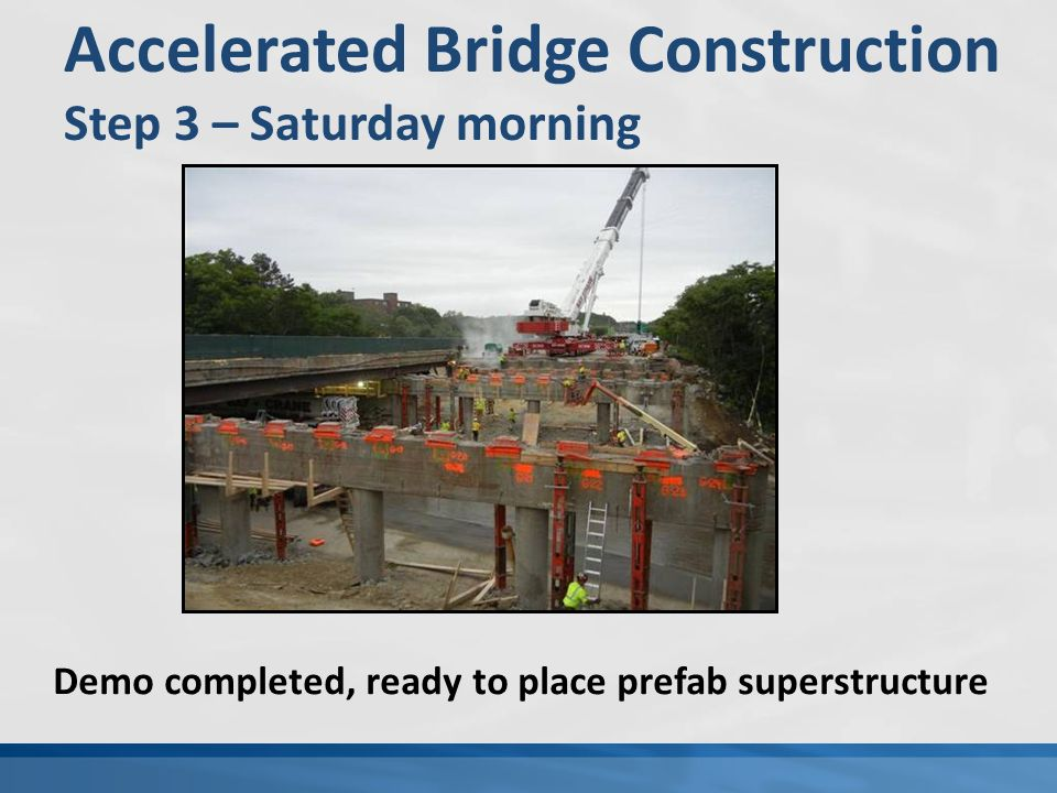 Accelerated Bridge Construction Step 3 – Saturday morning Demo completed, ready to place prefab superstructure