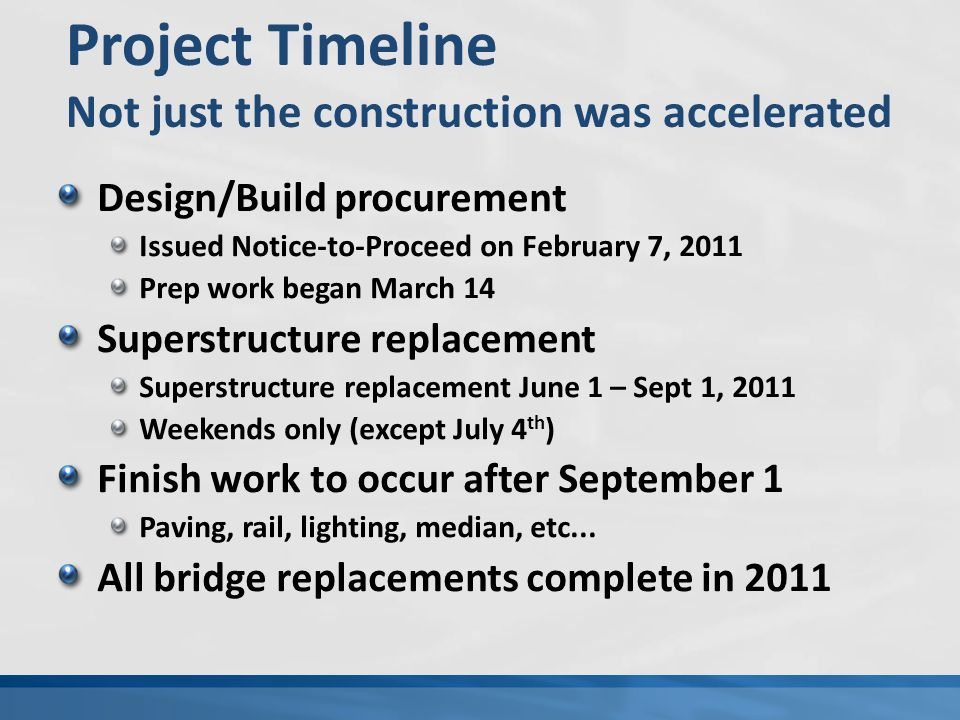 Design/Build procurement Issued Notice-to-Proceed on February 7, 2011 Prep work began March 14 Superstructure replacement Superstructure replacement June 1 – Sept 1, 2011 Weekends only (except July 4 th ) Finish work to occur after September 1 Paving, rail, lighting, median, etc...