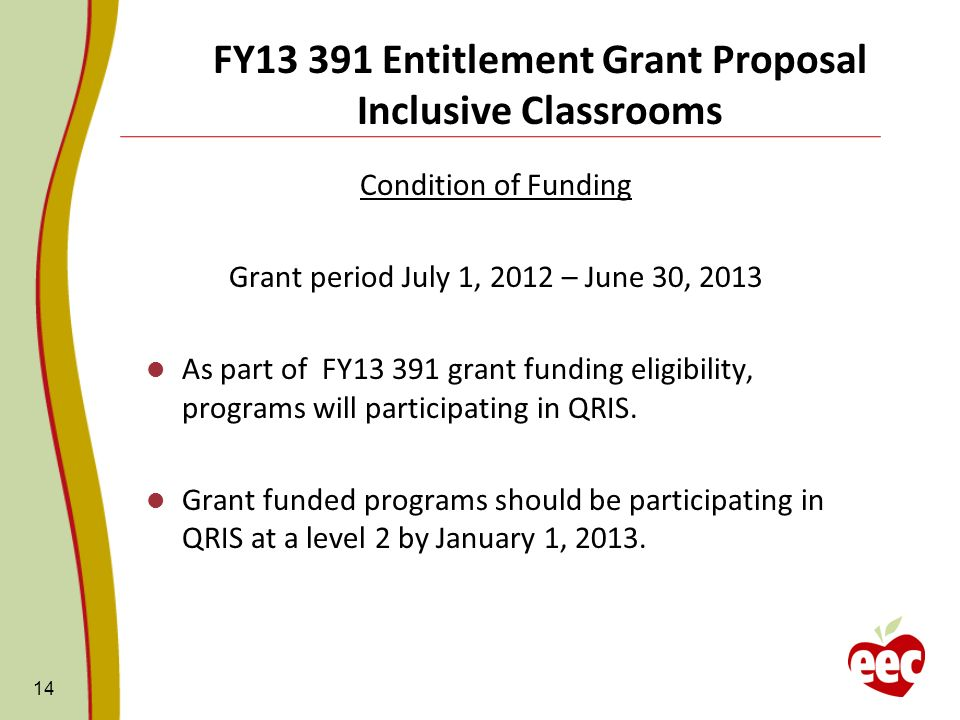 FY13 391 Entitlement Grant Proposal Inclusive Classrooms Condition of Funding Grant period July 1, 2012 – June 30, 2013 As part of FY13 391 grant funding eligibility, programs will participating in QRIS.