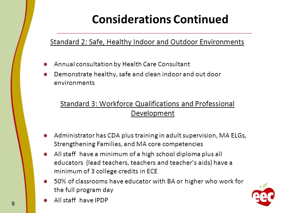 Considerations Continued Standard 2: Safe, Healthy Indoor and Outdoor Environments Annual consultation by Health Care Consultant Demonstrate healthy, safe and clean indoor and out door environments Standard 3: Workforce Qualifications and Professional Development Administrator has CDA plus training in adult supervision, MA ELGs, Strengthening Families, and MA core competencies All staff have a minimum of a high school diploma plus all educators (lead teachers, teachers and teachers aids) have a minimum of 3 college credits in ECE 50% of classrooms have educator with BA or higher who work for the full program day All staff have IPDP 9