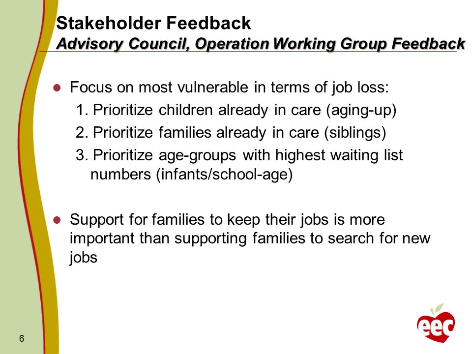 Advisory Council, Operation Working Group Feedback Stakeholder Feedback Advisory Council, Operation Working Group Feedback Focus on most vulnerable in