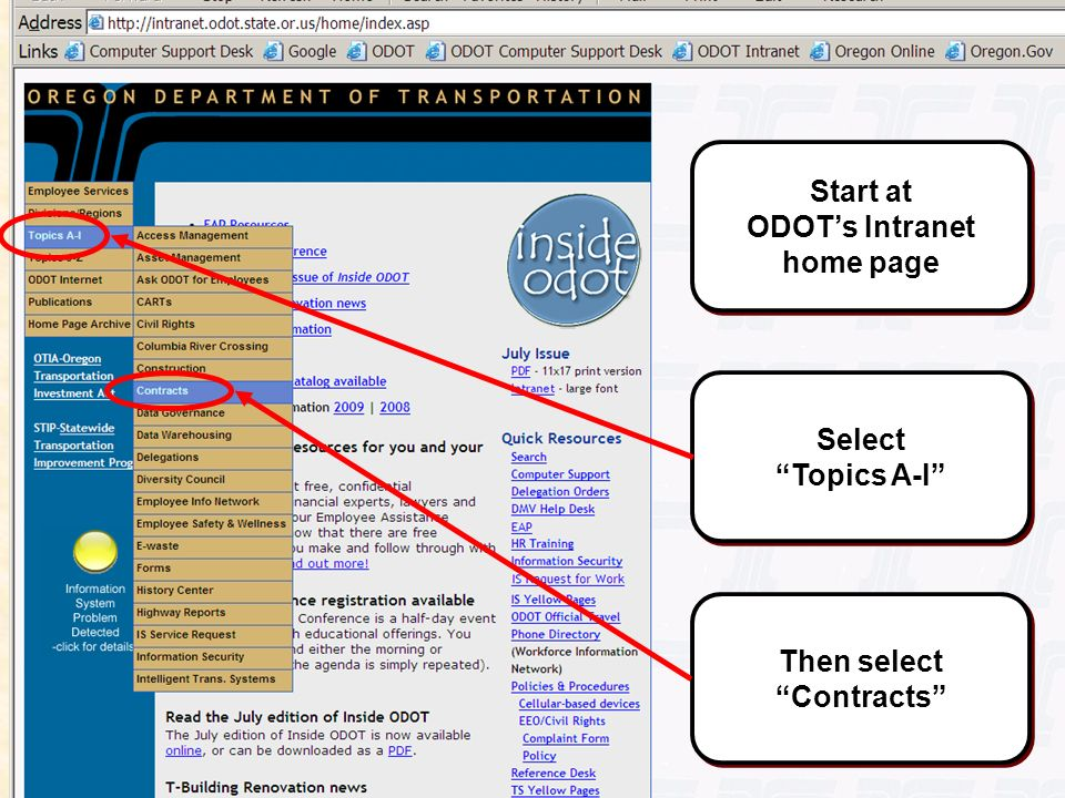 Slide #35 Start at ODOTs Intranet home page Select Topics A-I Then select Contracts