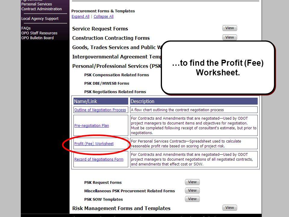 Slide #41 …to find the Profit (Fee) Worksheet.