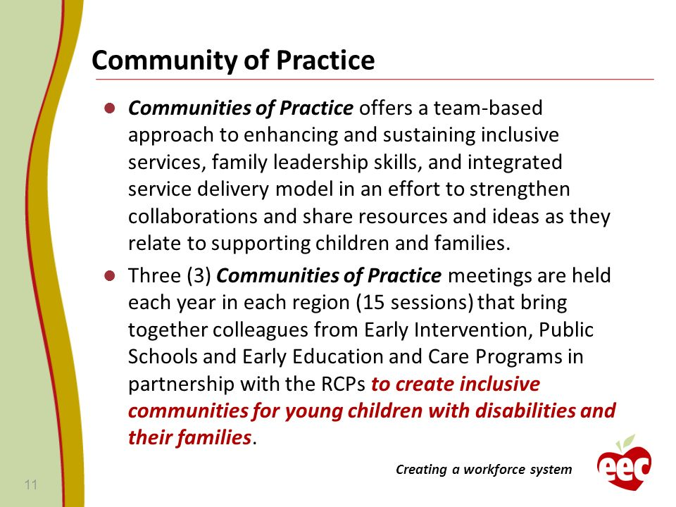 Community of Practice Communities of Practice offers a team-based approach to enhancing and sustaining inclusive services, family leadership skills, a