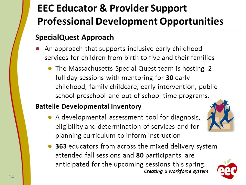 EEC Educator & Provider Support Professional Development Opportunities SpecialQuest Approach An approach that supports inclusive early childhood servi