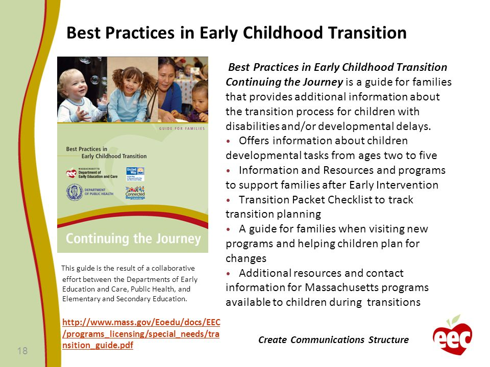 Best Practices in Early Childhood Transition Best Practices in Early Childhood Transition Continuing the Journey is a guide for families that provides