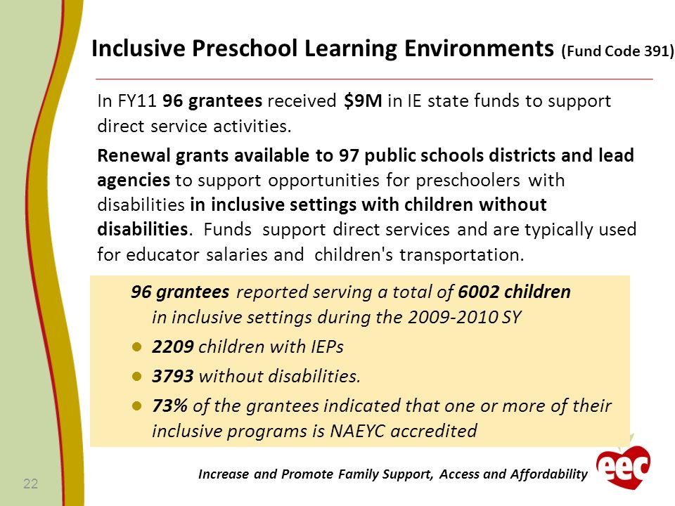 In FY11 96 grantees received $9M in IE state funds to support direct service activities. Renewal grants available to 97 public schools districts and l