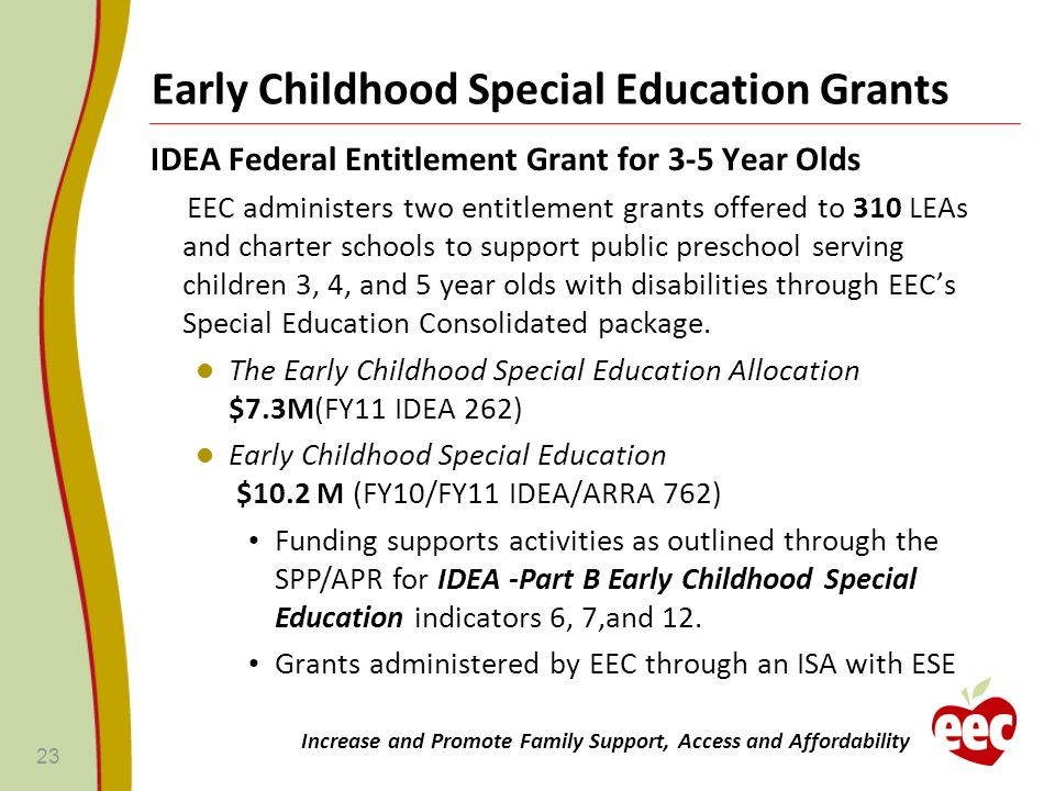 Early Childhood Special Education Grants IDEA Federal Entitlement Grant for 3-5 Year Olds EEC administers two entitlement grants offered to 310 LEAs a
