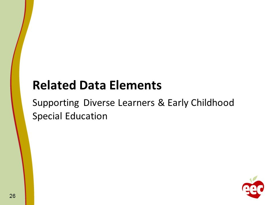 Related Data Elements Supporting Diverse Learners & Early Childhood Special Education 26