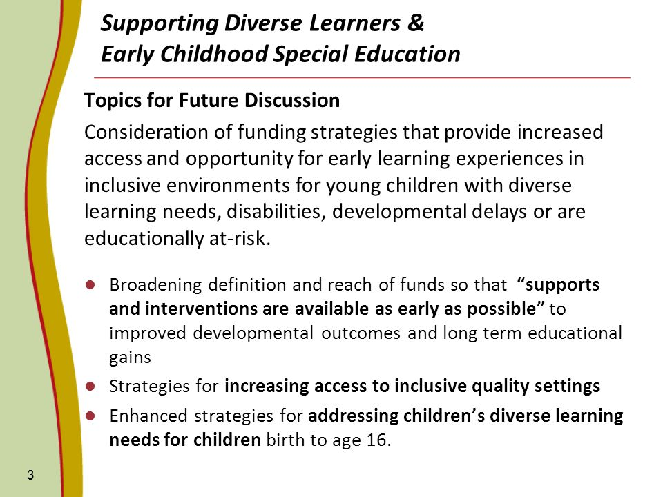 Supporting Diverse Learners & Early Childhood Special Education Topics for Future Discussion Consideration of funding strategies that provide increase