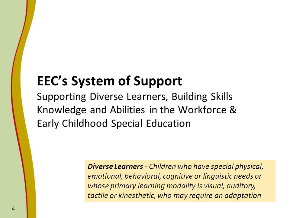 EECs System of Support Supporting Diverse Learners, Building Skills Knowledge and Abilities in the Workforce & Early Childhood Special Education 4 Div