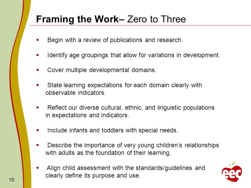 10 Framing the Work– Zero to Three Begin with a review of publications and research. Identify age groupings that allow for variations in development.