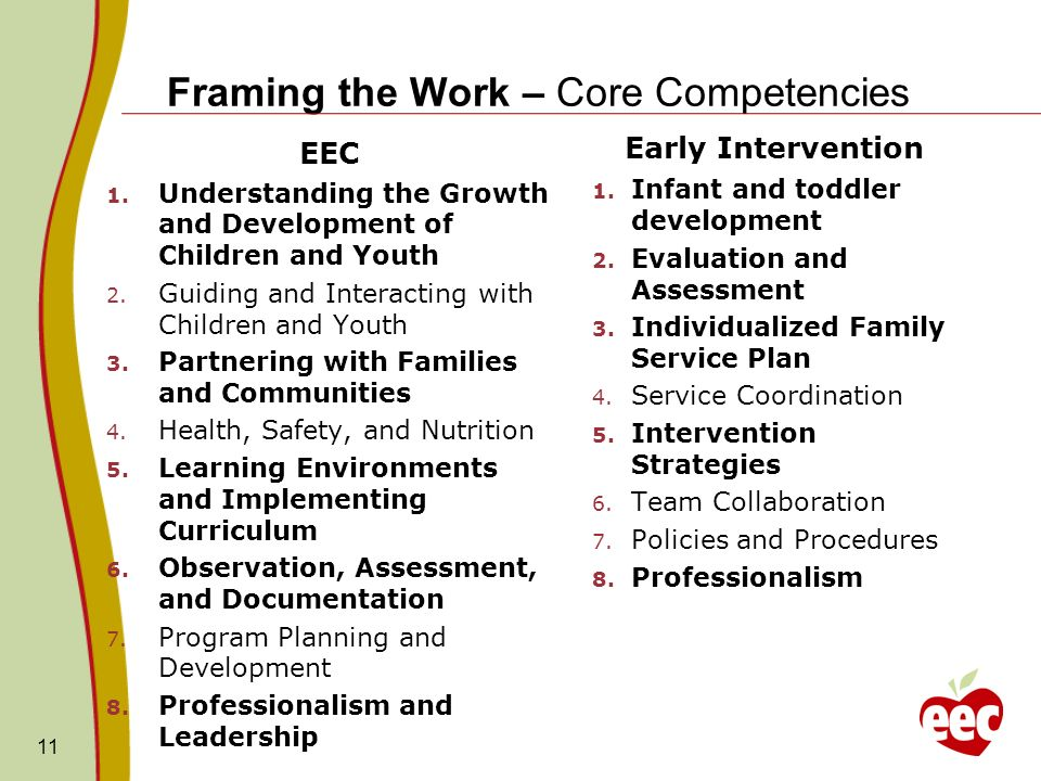 Framing the Work – Core Competencies Early Intervention 1. Infant and toddler development 2. Evaluation and Assessment 3. Individualized Family Servic