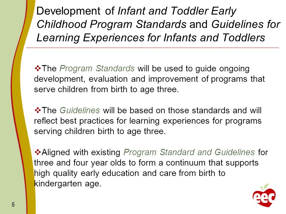 5 Development of Infant and Toddler Early Childhood Program Standards and Guidelines for Learning Experiences for Infants and Toddlers The Program Sta