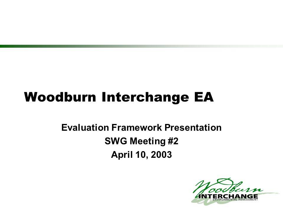 Woodburn Interchange EA Evaluation Framework Presentation SWG Meeting #2 April 10, 2003