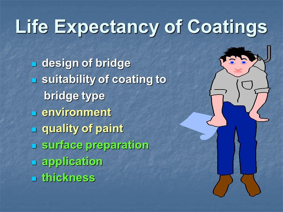 Life Expectancy of Coatings design of bridge design of bridge suitability of coating to suitability of coating to bridge type bridge type environment