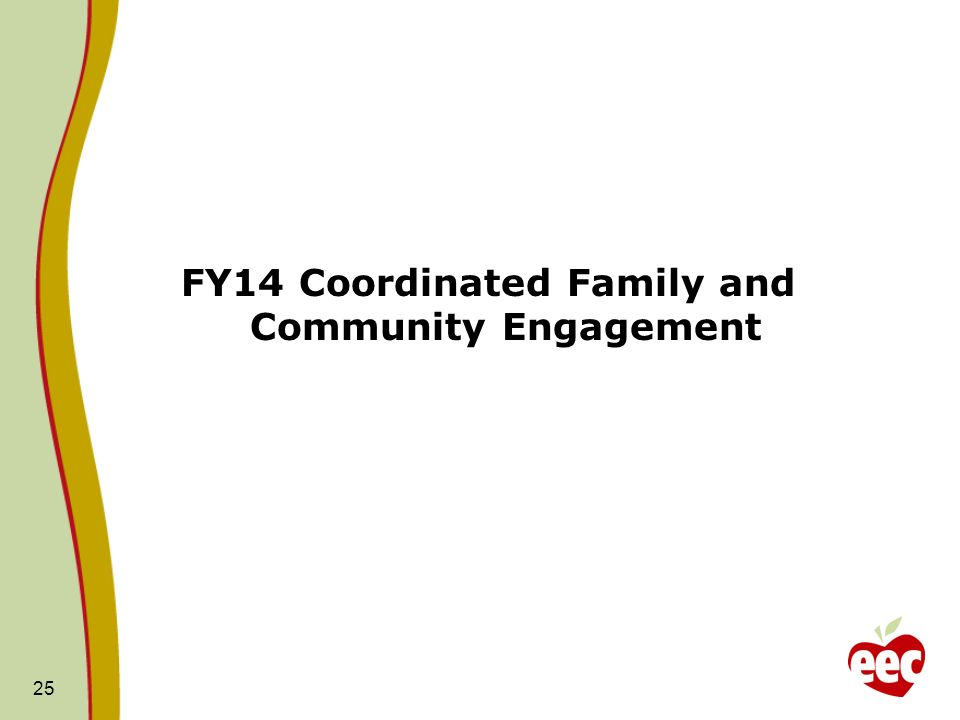 FY14 Coordinated Family and Community Engagement 25