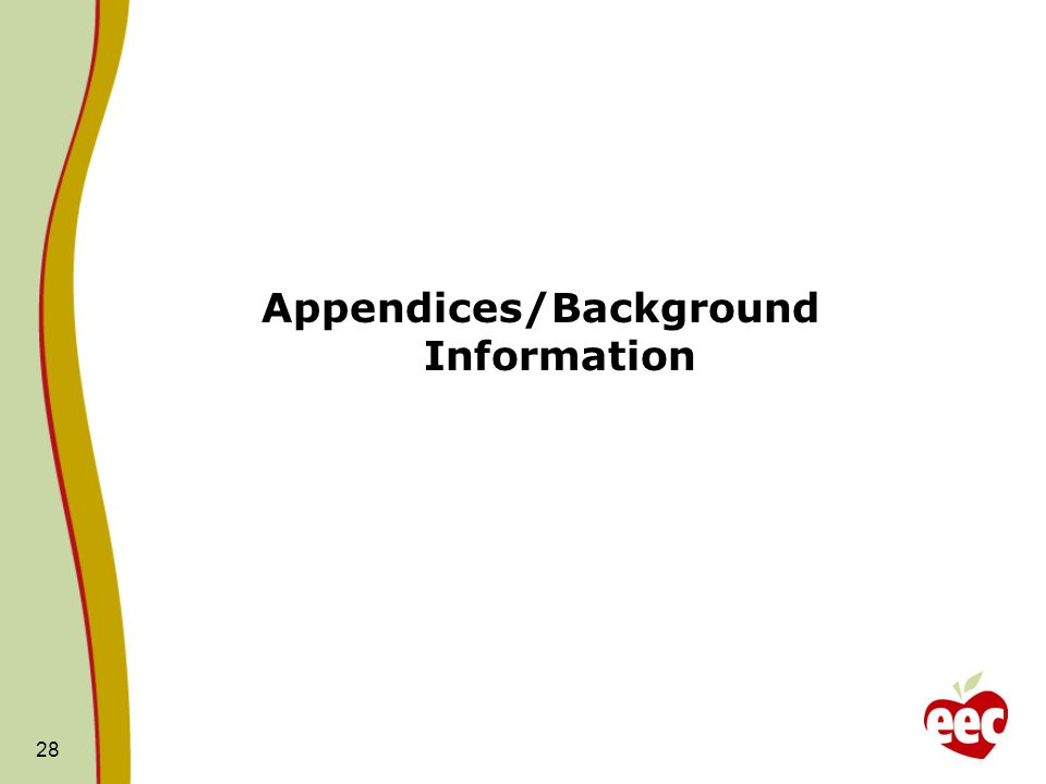 Appendices/Background Information 28