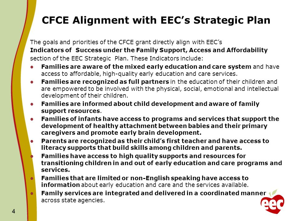 4 CFCE Alignment with EECs Strategic Plan The goals and priorities of the CFCE grant directly align with EECs Indicators of Success under the Family Support, Access and Affordability section of the EEC Strategic Plan.