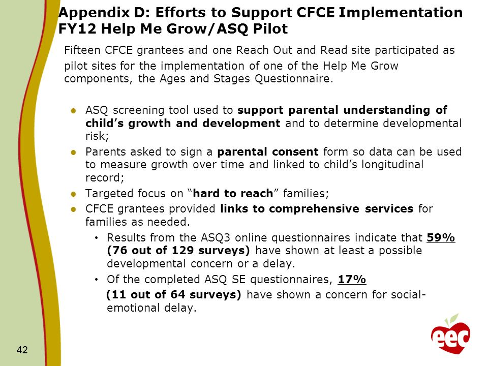 42 Appendix D: Efforts to Support CFCE Implementation FY12 Help Me Grow/ASQ Pilot Fifteen CFCE grantees and one Reach Out and Read site participated as pilot sites for the implementation of one of the Help Me Grow components, the Ages and Stages Questionnaire.