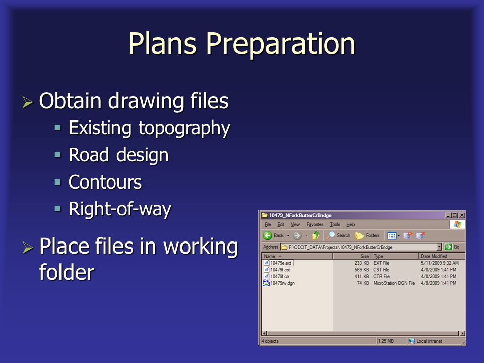 Plans Preparation Obtain drawing files Obtain drawing files Existing topography Existing topography Road design Road design Contours Contours Right-of-way Right-of-way Place files in working folder Place files in working folder