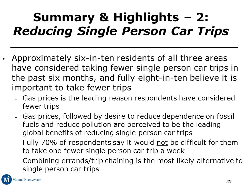 35 Summary & Highlights – 2: Reducing Single Person Car Trips Approximately six-in-ten residents of all three areas have considered taking fewer singl