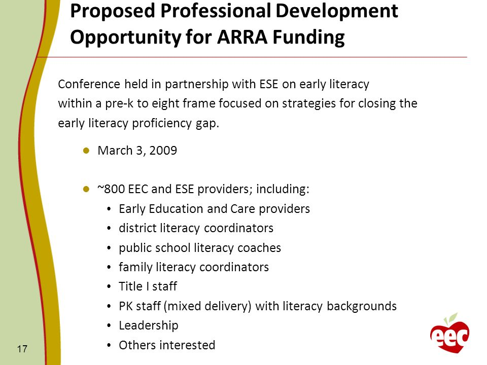 Proposed Professional Development Opportunity for ARRA Funding 17 Conference held in partnership with ESE on early literacy within a pre-k to eight frame focused on strategies for closing the early literacy proficiency gap.