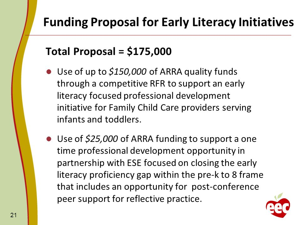 Funding Proposal for Early Literacy Initiatives 21 Total Proposal = $175,000 Use of up to $150,000 of ARRA quality funds through a competitive RFR to support an early literacy focused professional development initiative for Family Child Care providers serving infants and toddlers.