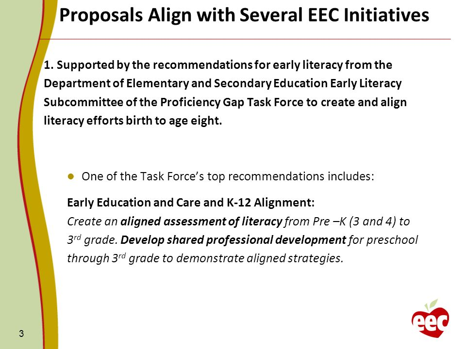 Proposals Align with Several EEC Initiatives 3 1. Supported by the recommendations for early literacy from the Department of Elementary and Secondary